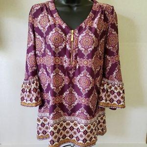 Roz&Ali Bell Sleeve Blouse